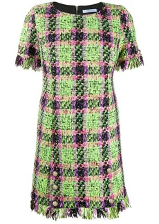 Blumarine check print fringed dress