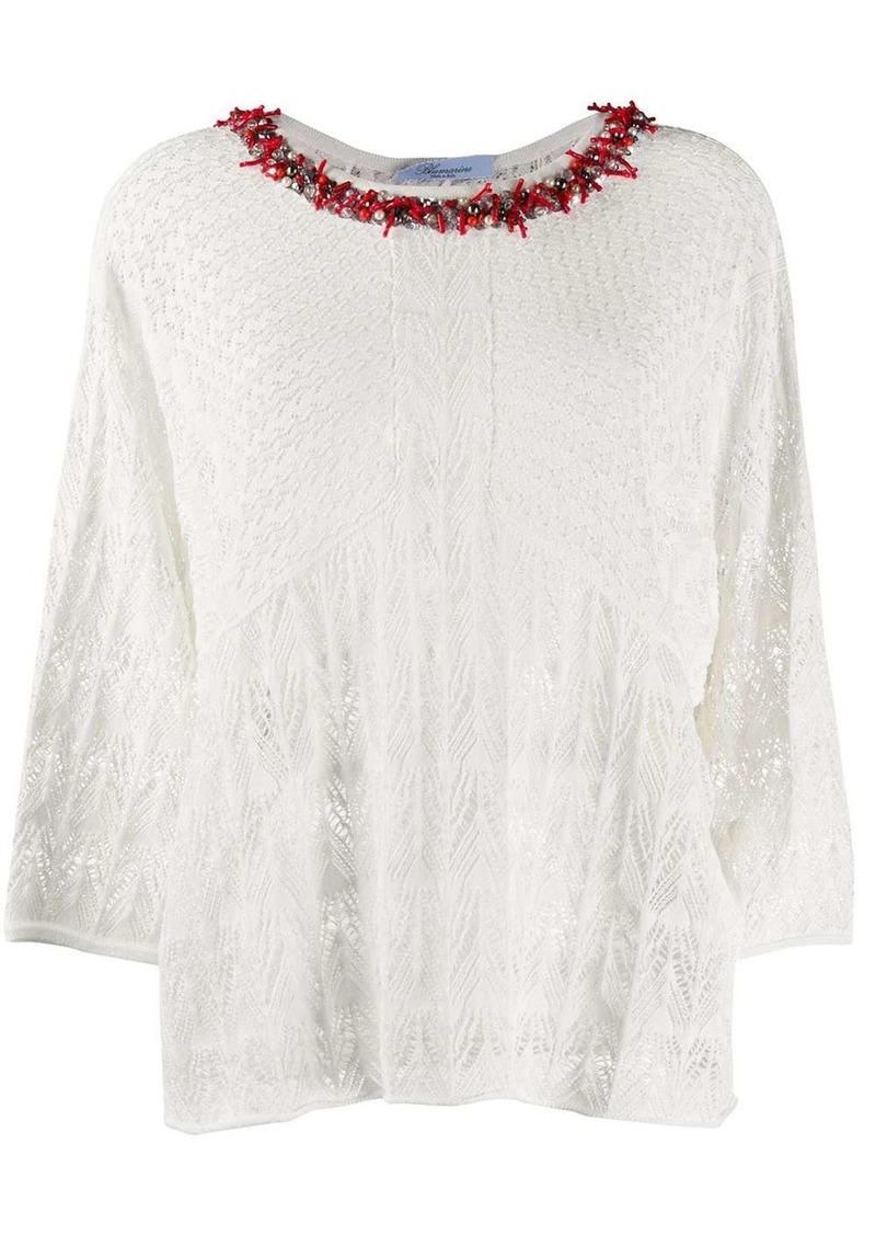 Blumarine embellished neck sheer knit top