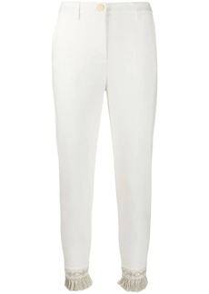 Blumarine embroidered fringed hem trousers