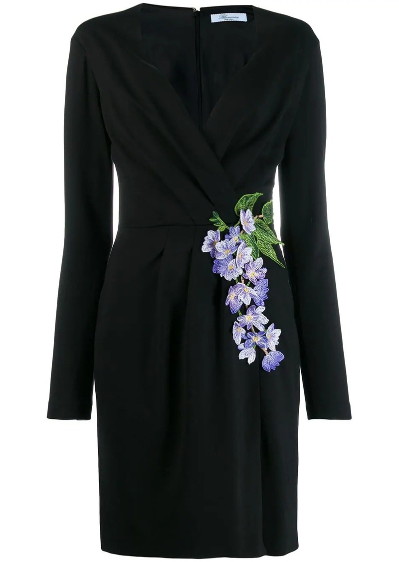 Blumarine floral-embroidered wrap dress