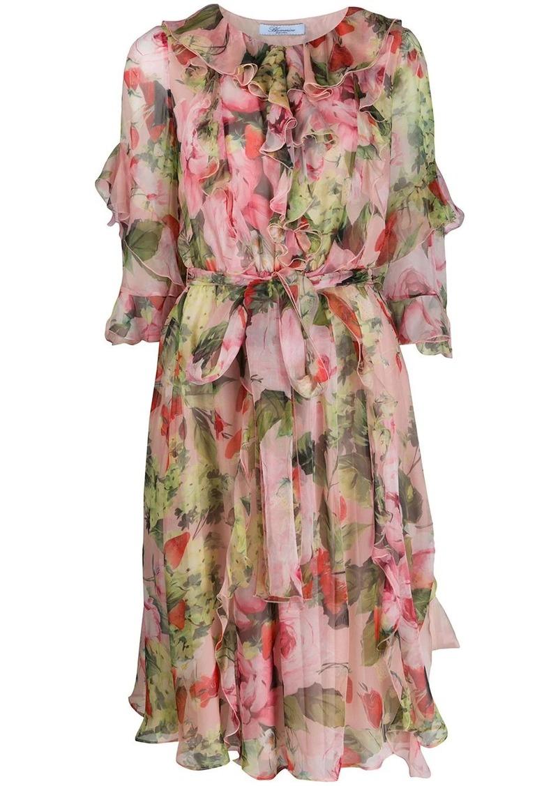 Blumarine floral print silk dress