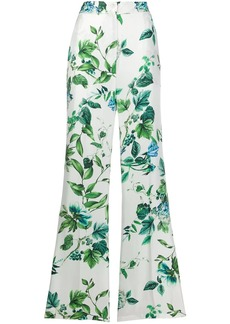 Blumarine floral print silk trousers