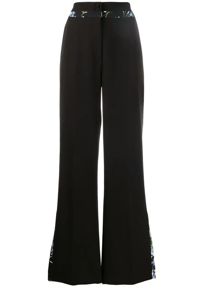 Blumarine floral trim flared trousers