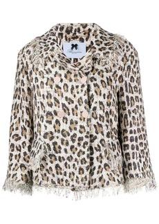 Blumarine fringed leopard jacket