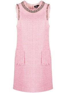 Blumarine gemstone-embellished tweed mini dress