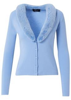 Blumarine Knit Cardigan W/ Detachable Fur Collar