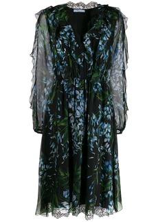 Blumarine lace-trim floral dress