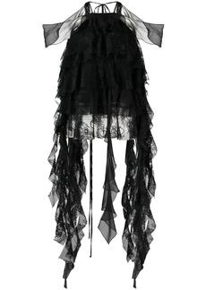 Blumarine layered floral-lace silk blouse