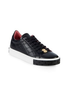 Blumarine Logo Cross Leather Sneakers