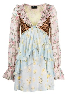 Blumarine mix-print ruffled silk dress