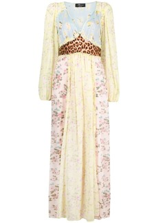 Blumarine mix-print silk maxi dress