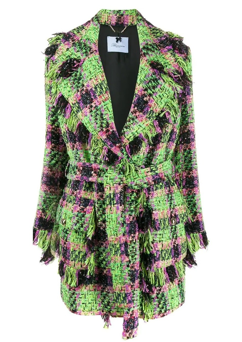 Blumarine neon tartan coat