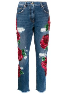 Blumarine ricamo rose embroidered jeans