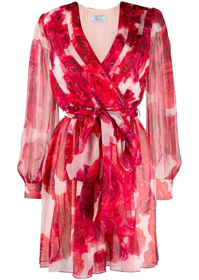 Blumarine rose print wrap dress