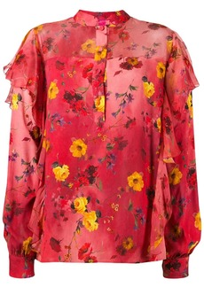 Blumarine ruffled floral print blouse