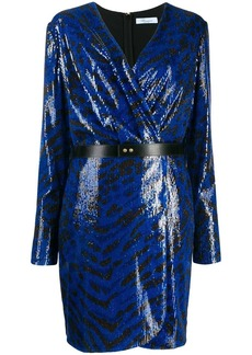 Blumarine sequinned wrap dress