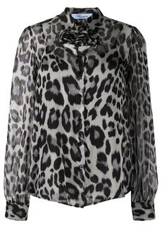 Blumarine sheer leopard print shirt