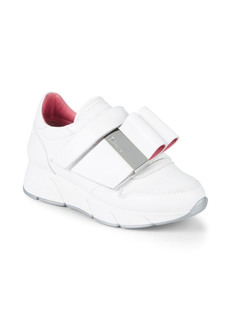 Blumarine Strap-Front Leather Sneakers
