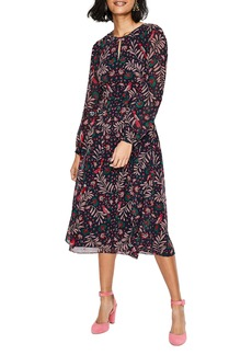 Boden Ada Floral Long Sleeve Midi Dress