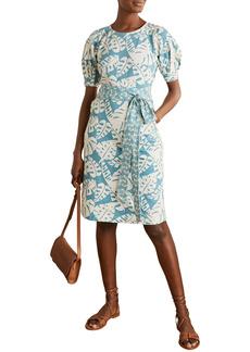 Boden Amanda Leaf Print Belted Cotton Jersey Dress