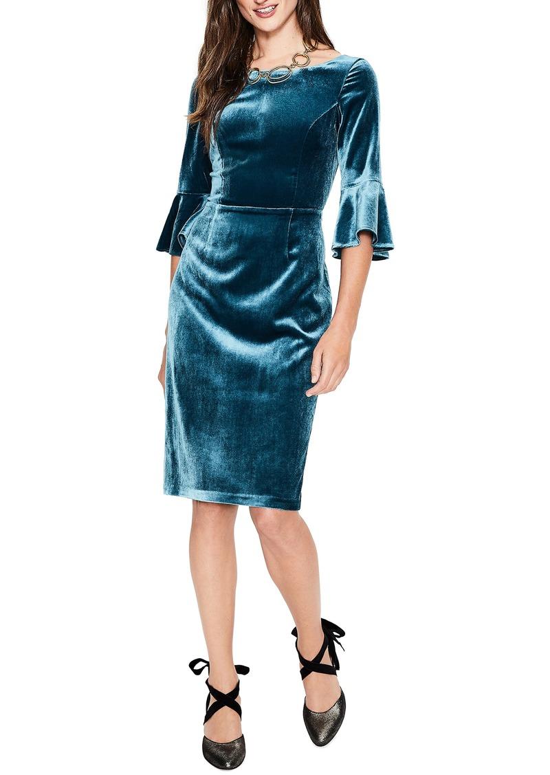 Boden Boden Aubrey Flounce Sleeve Velvet Dress