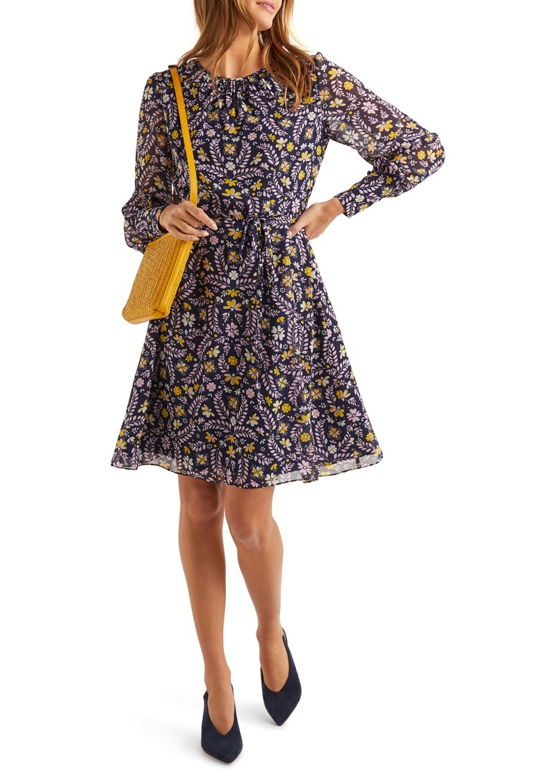 Boden Blossom Fit & Flare Long Sleeve Dress