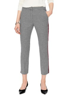 Boden British Tweed Check Velvet Trim Pants
