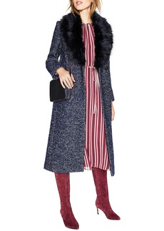 Boden Burley Removable Faux Fur Collar Tweed Coat