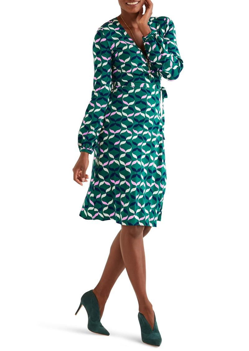 Boden Elodie Print Long Sleeve Jersey Wrap Dress