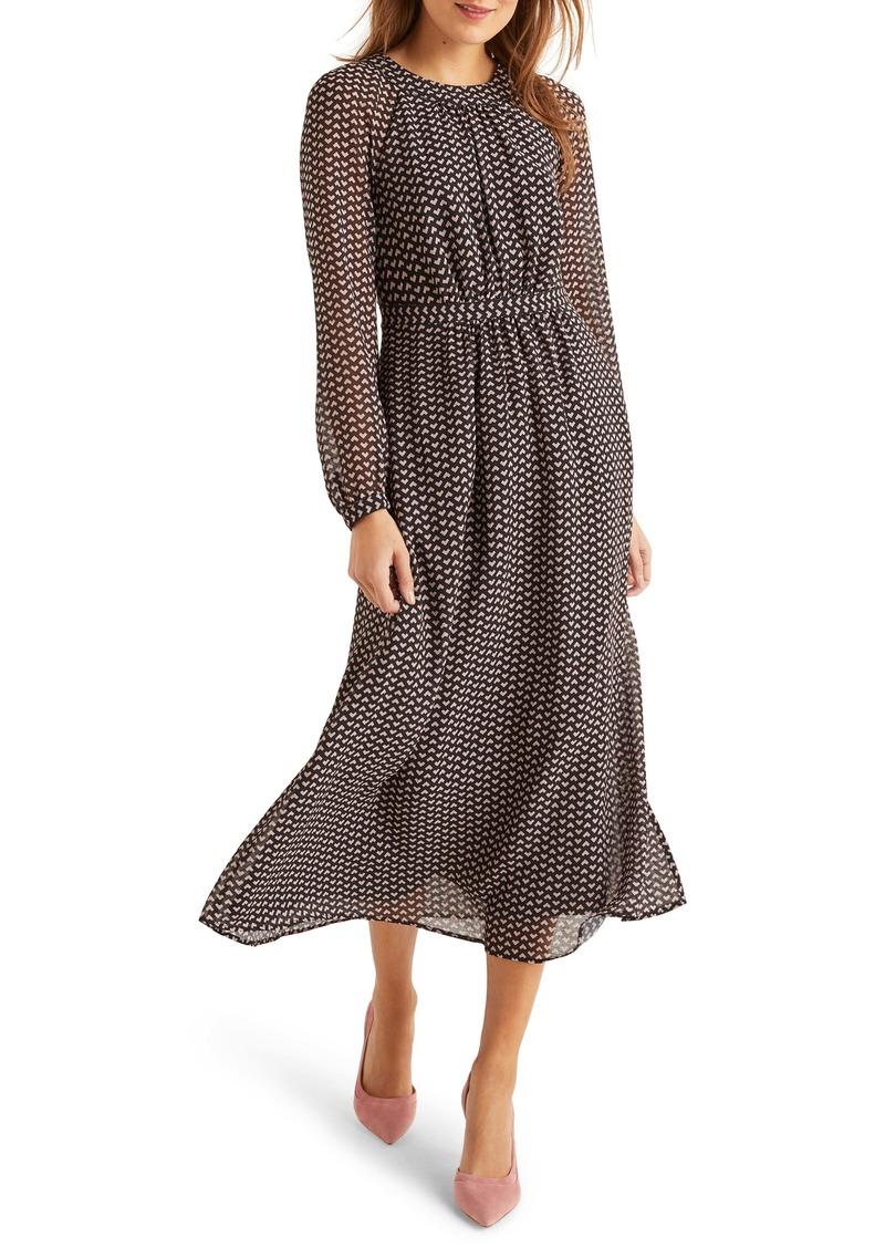 Boden Erica Print Long Sleeve Midi Dress
