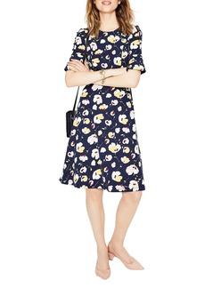 Boden Fluted Sleeve Ponte Fit & Flare Dress