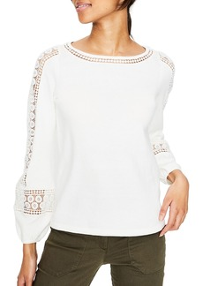 Boden Lace Inset Cotton Sweater