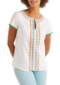 Boden Laura Embroidered Linen Top