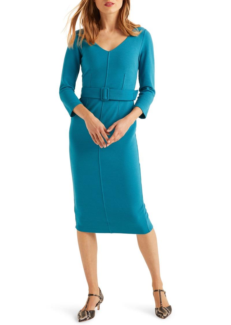 Boden Margie Ottoman Belted Sheath Midi Dress
