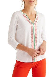 Boden Peggy Embroidered Jersey Top