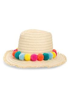 Boden Pompom Straw Sun Hat (Kids)