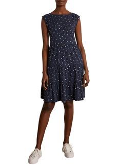 Boden Romaine Metallic Polka Dot Tiered Jersey Dress