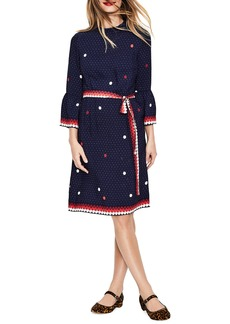 Boden Ruffle Sleeve Polka Dot DRess