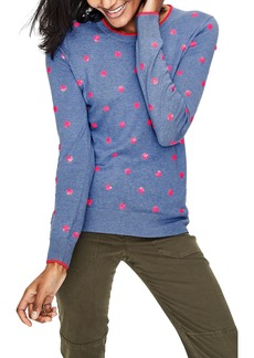 Boden Sequin Flower Cotton Sweater