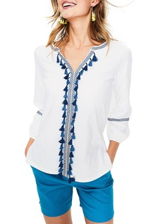 Boden Tassel Embroidered Top