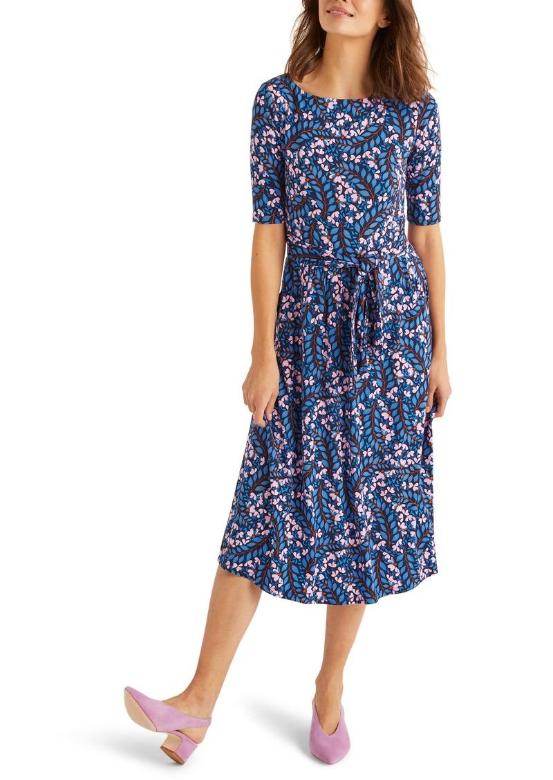 Boden Eloise Tie Waist Fit & Flare Jersey Midi Dress