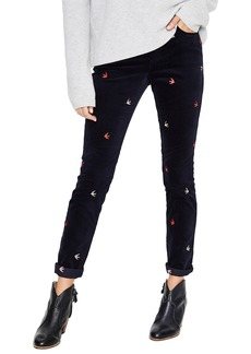 Boden Velvet Soho Skinny Jeans (Embroidered Navy)