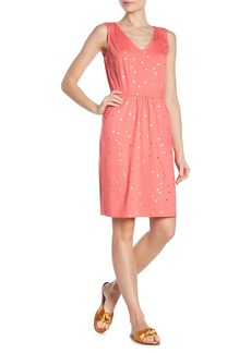 Boden Melinda Gold Foil Polka Dot Knee Length Dress