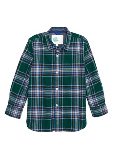 Mini Boden Check Brushed Flannel Shirt (Toddler Boys, Little Boys & Big Boys)
