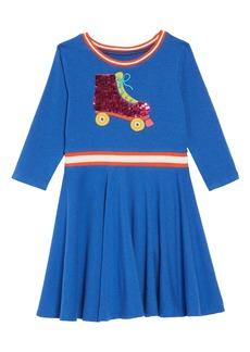Mini Boden Color Change Sequin Skater Dress (Toddler Girls, Little Girls & Big Girls)