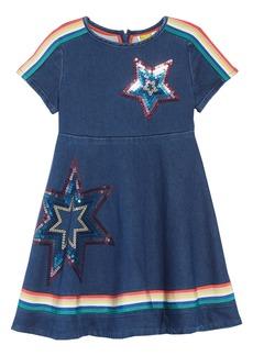 Mini Boden Embellished Denim Skater Dress (Toddler Girls, Little Girls & Big Girls)