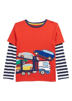 Mini Boden Kids' Cherry Red Appliqué Layered Long Sleeve Shirt (Toddler, Little Boy & Big Boy)