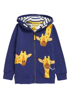 Mini Boden Kids' Giraffe Appliqué Zip-Up Hoodie (Toddler, Little Boy & Big Boy)