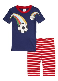 Mini Boden Kids' Sports Print Fitted Two-Piece Short Pajamas (Toddler, Little Boy & Big Boy)