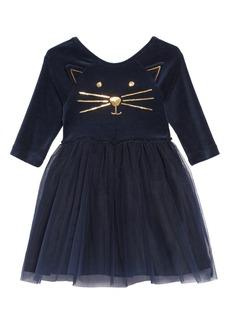 Mini Boden Sequin Appliqué Mixed Media Dress (Toddler Girls, Little Girls & Big Girls)